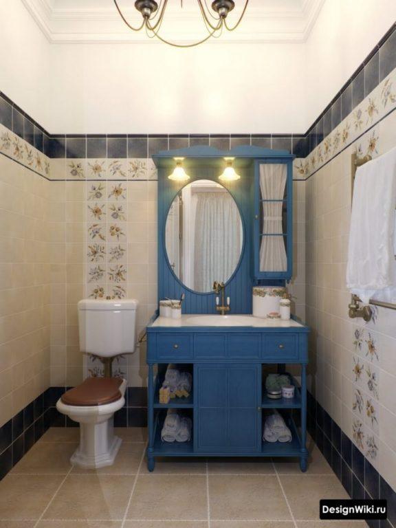 Синяя мебель в ванной в классическом стиле