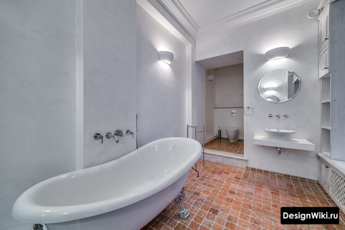 Современный стиль прованс в ванной комнате