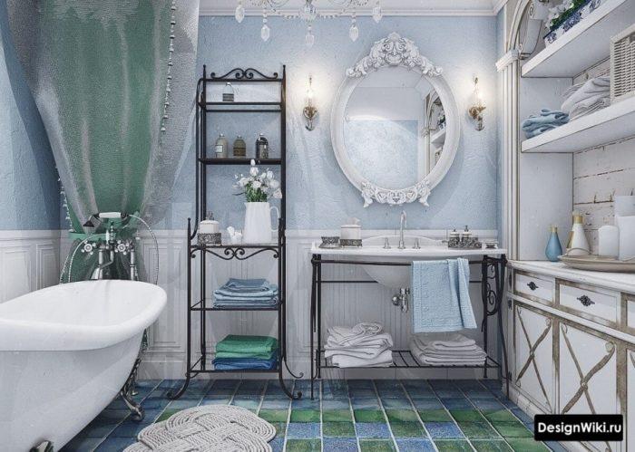 Сочетание белого и голубого в ванной в стиле прованс