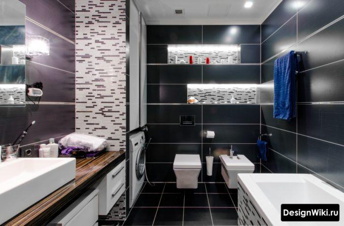 Сочетание разной плитки на одной стене в ванной комнате