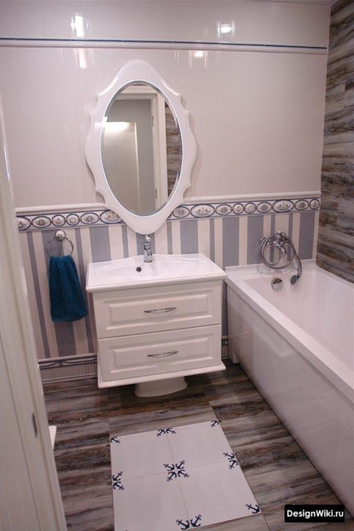 Стиль прованс в маленькой ванной комнате в квартире #дизайн #ваннаякомната