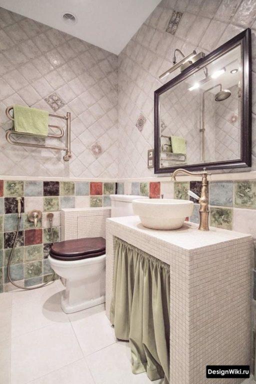 Стиральная машина за шторкой в ванной в стиле прованс #дизайн #ваннаякомната