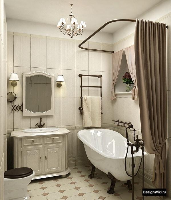 Текстиль в ванной в стиле прованс