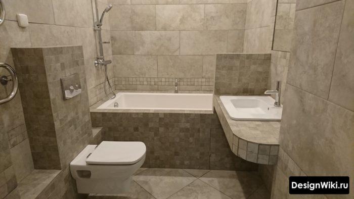 Укладка плитки под каменные блоки в ванной