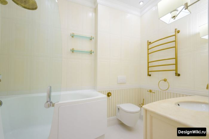 Фото классического дизайна ванной комнаты отделанной плиткой