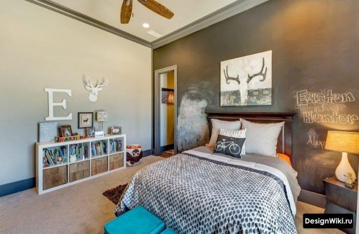 Брутальный интерьер комнаты для молодого человека