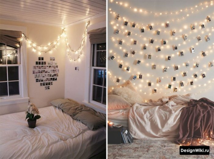 Гирлянды с фото на прищепке в комнате подростка-девочки