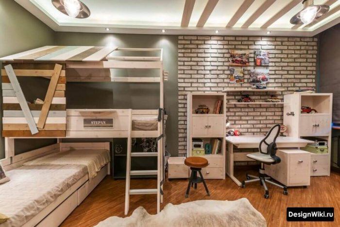 Дизайн комнаты для двух мальчиков подростков 14 лет с кроватью чердаком