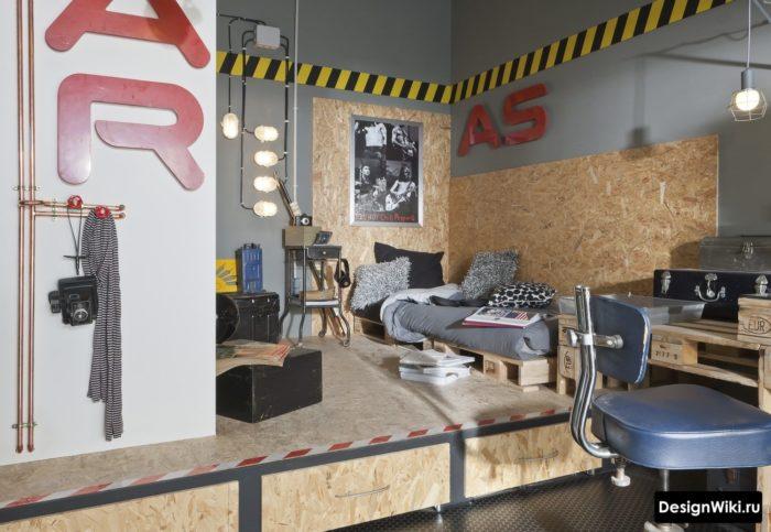 Дизайн комнаты мальчика подростка в стиле лофт