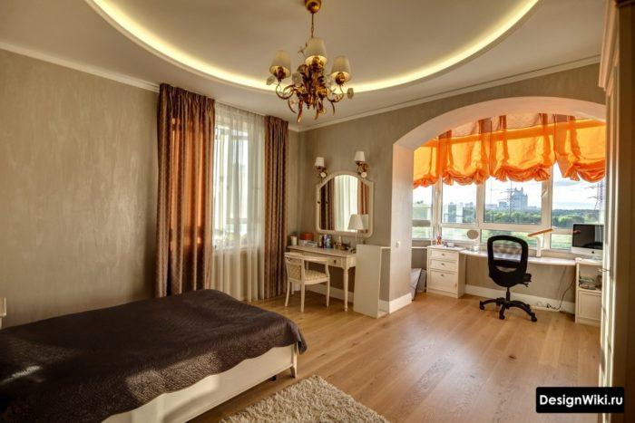 Комната девочки подростка с балконом в классическом стиле