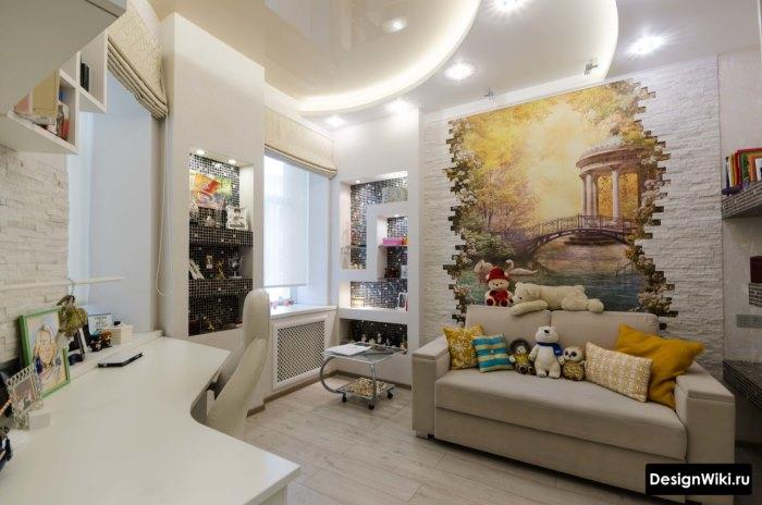 Комната девочки-школьницы с белой мебелью