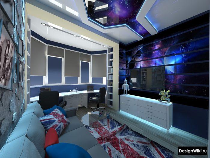 Космическая тематика комнаты мальчика 14 лет