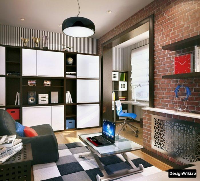 Красный кирпич и черно-белая мебель для мальчика подростка