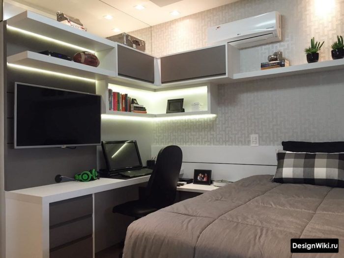 Планировка и мебель в маленькой комнате для подростка мальчика