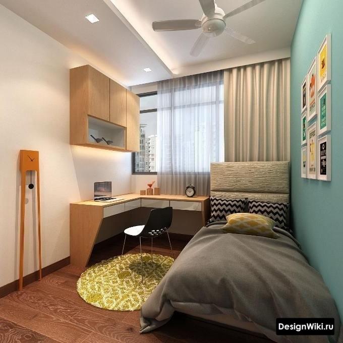 Планировка и расстановка мебели в комнате мальчика-подростка