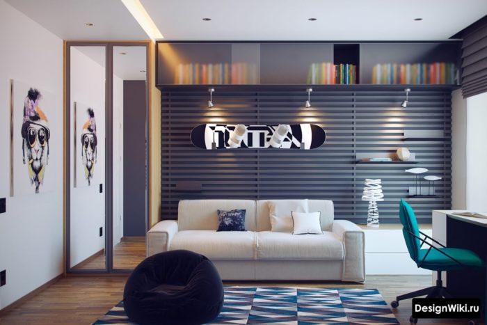 Современный дизайн комнаты мальчика подростка 14 лет в серо-черный цветах