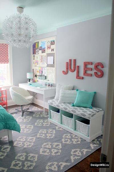 Современный идеи дизайна в комнате девочки-подростка