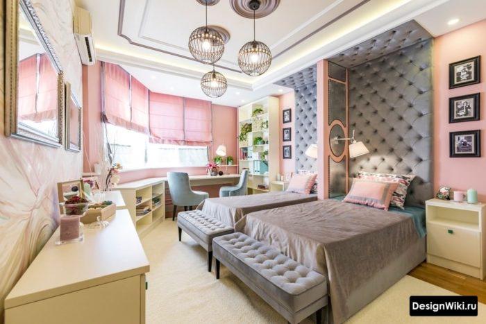 Сочетание серого и розового в комнате для двух девочек-подростков