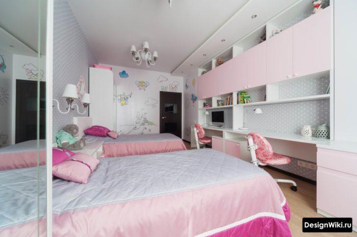 Стильная серо-розовая комната двух девочек подростков