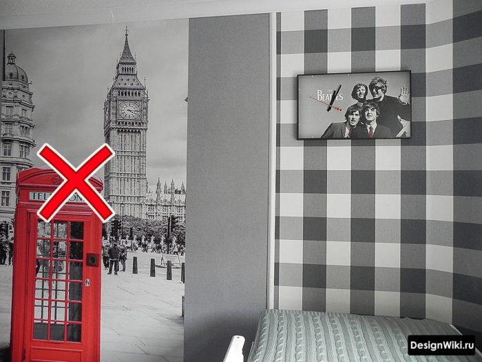 Фотообои красная телефонная будка в детской парня-подростка