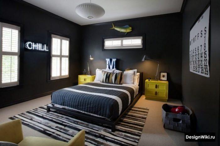 Черные стены в интерьере комнаты для мальчика подростка 16 лет