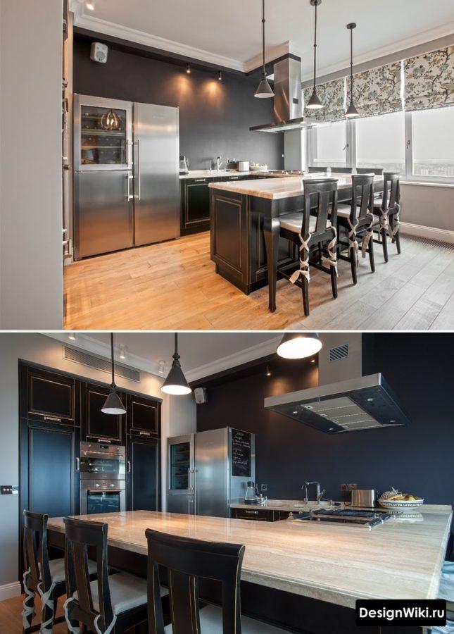 Барная стойка в центре дизайна кухни