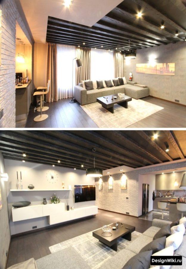 Балки на потолке в интерьере кухни-гостиной