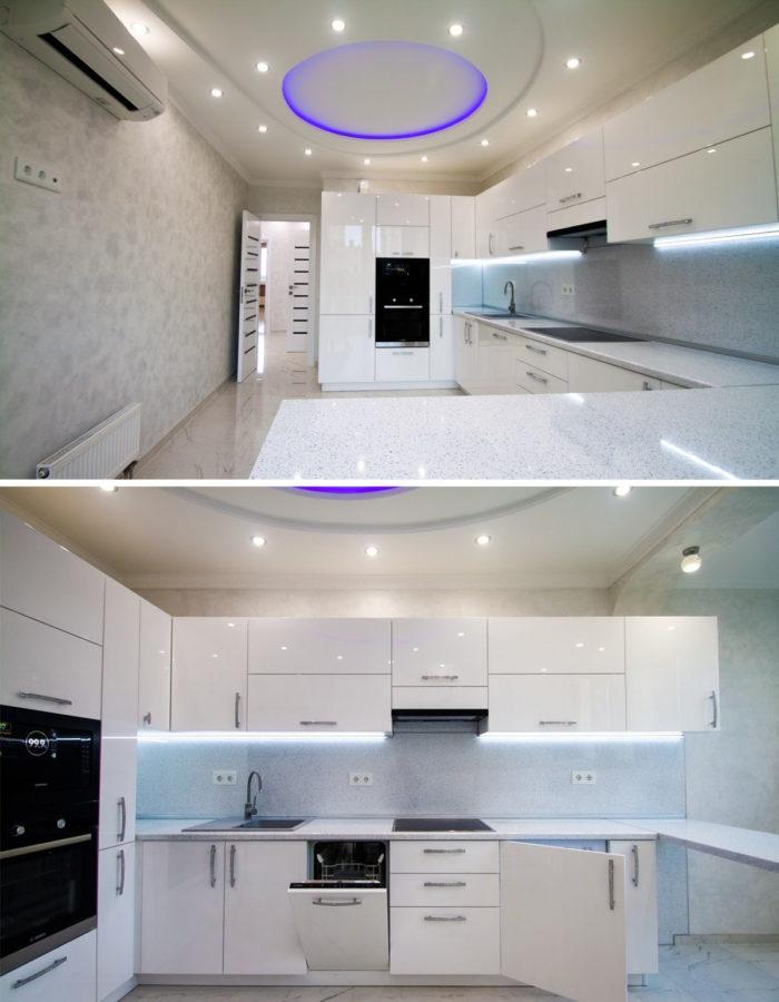 Два фото дизайна кухни с барной стойкой