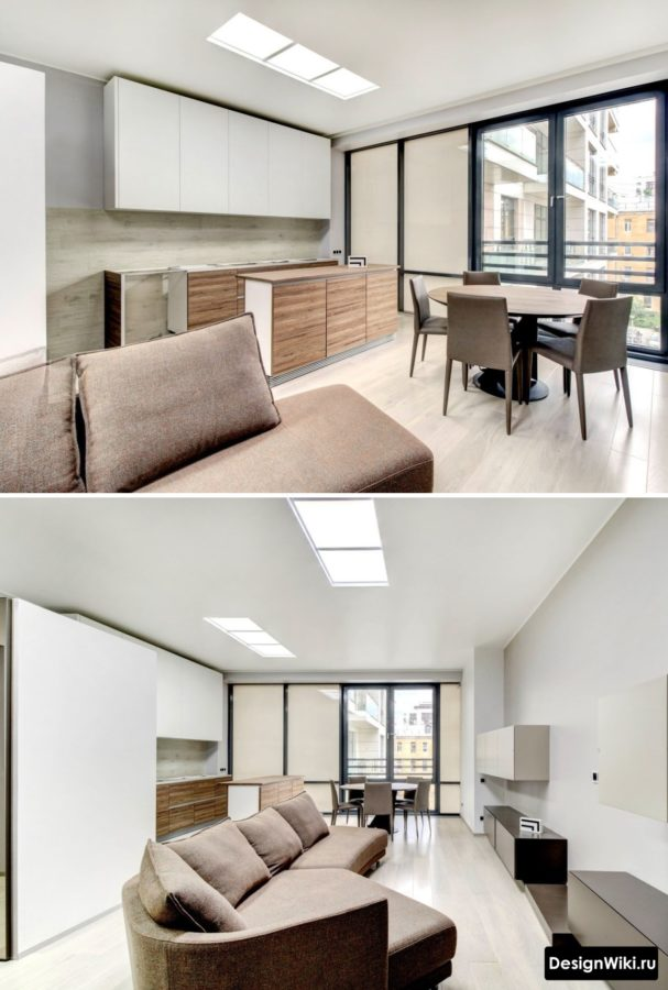 Дизайн кухни и гостиной среднего размера в стиле минимализм