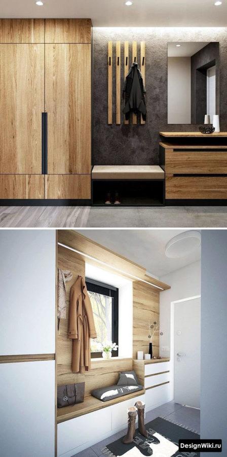 Дизайн прихожей с открытой и закрытой частями