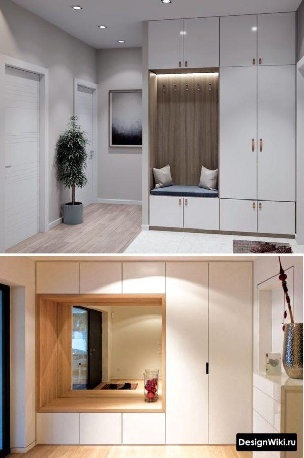 Дизайн прихожих с белым шкафом с нишей в середине