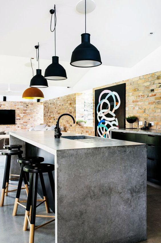 Кухня в стиле лофт с барной стойкой из бетона