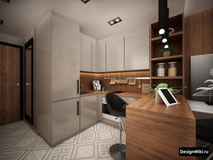 Маленькая кухня с деревянной барной стойкой