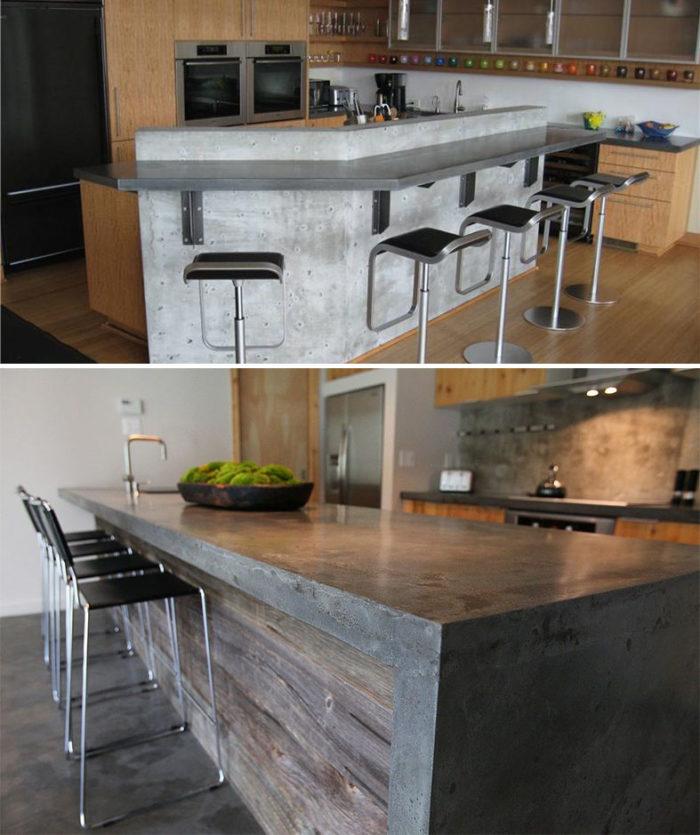 Необычные варианты дизайна барных стоек из бетона для кухни