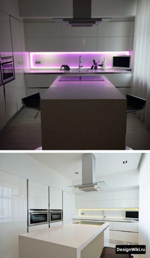 Островной тип барной стойки и фиолетовая подсветка на кухне