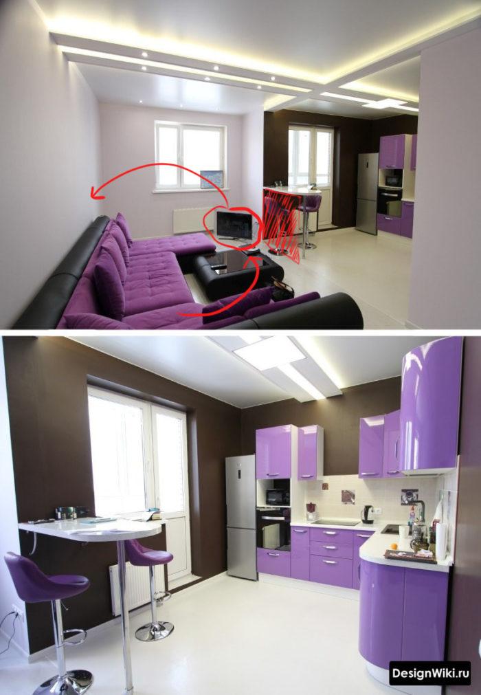 Расположение дивана и барной стойки в кухне-гостиной