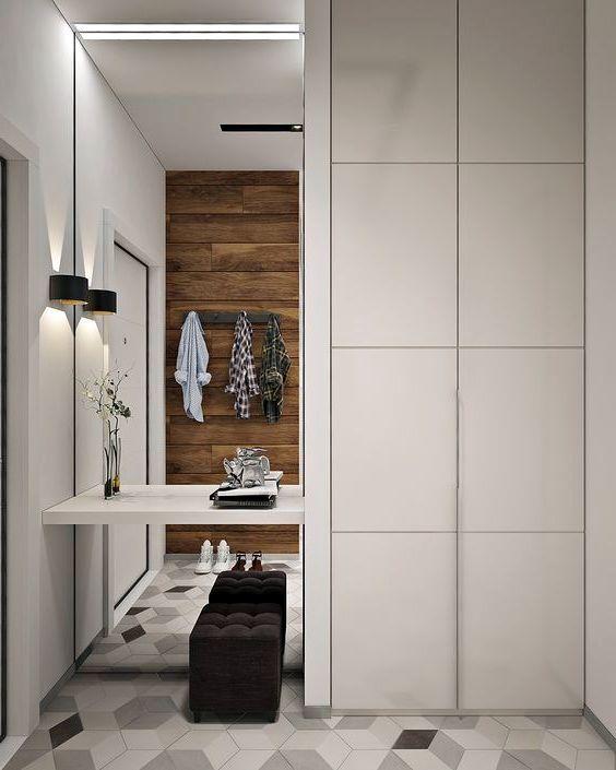 Современная идея интерьера прихожей 2019 - плитка куб #дизайн #прихожая