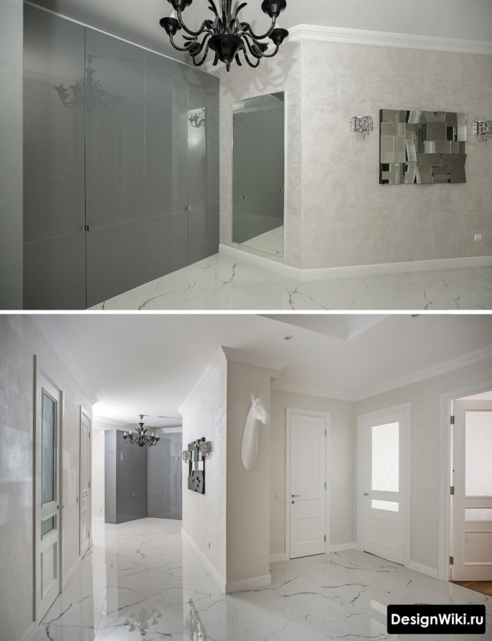 Современный дизайн прихожей в квартире в светлых тонах