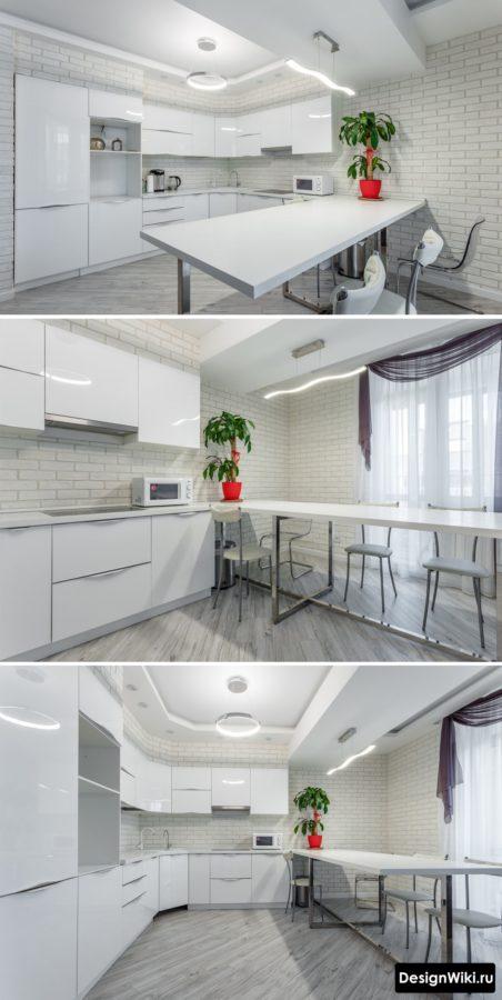 Угловая кухня с барной стойкой и стильным дизайном