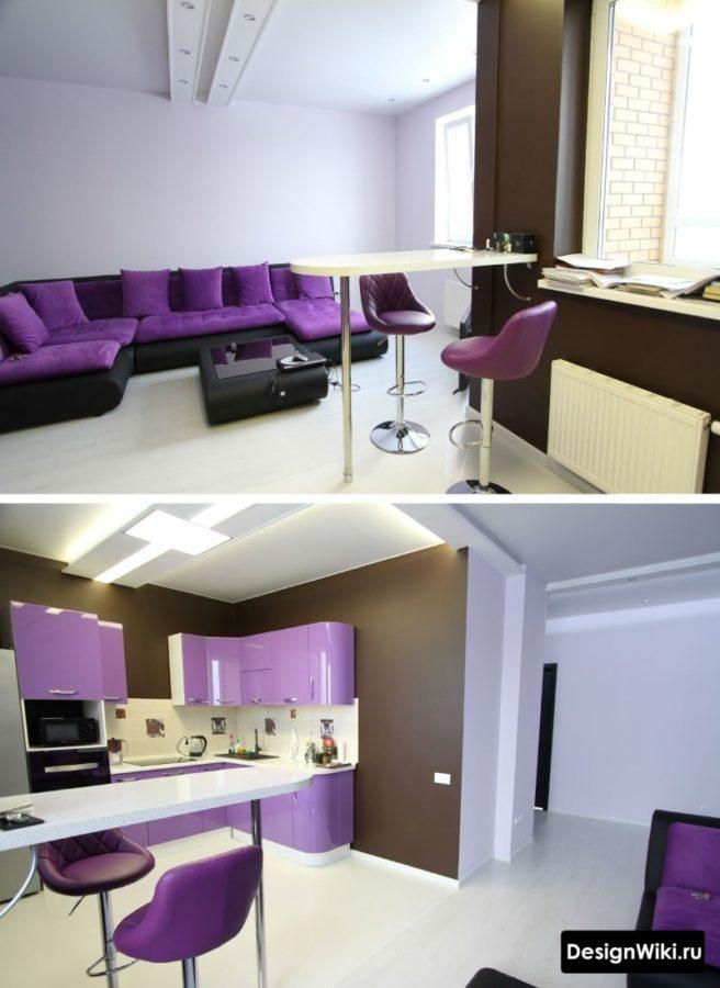 Фиолетовая кухня с белой барной стойкой