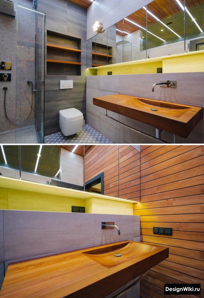 деревянный умывальник в ванной комнате