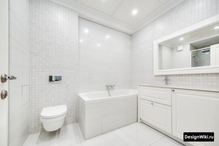 дизайн ванной комнаты в стиле минимализм в светлых тонах