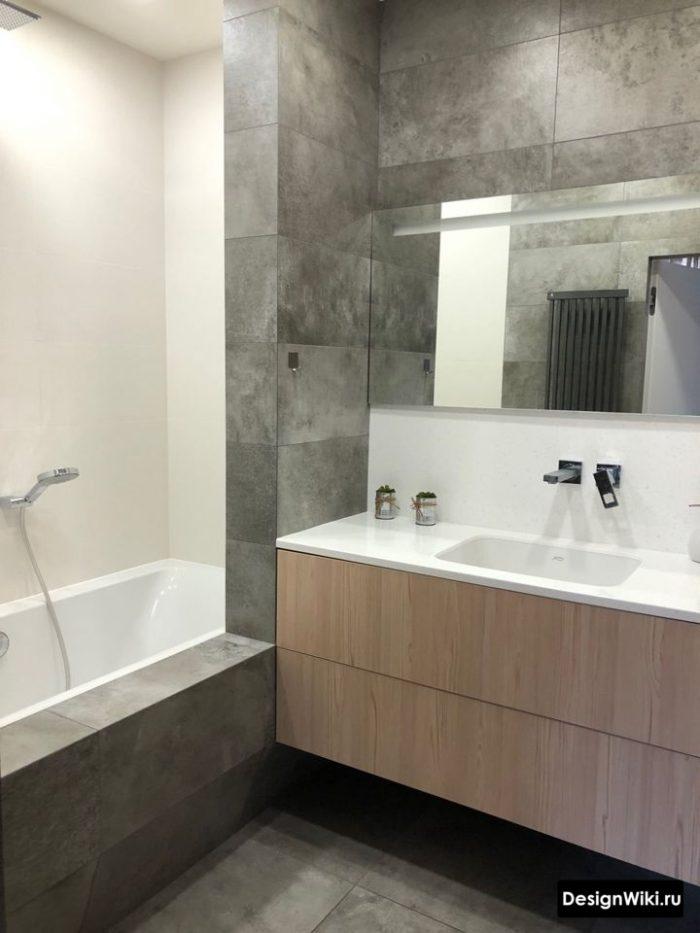 дизайн ванной со встроенным смесителем
