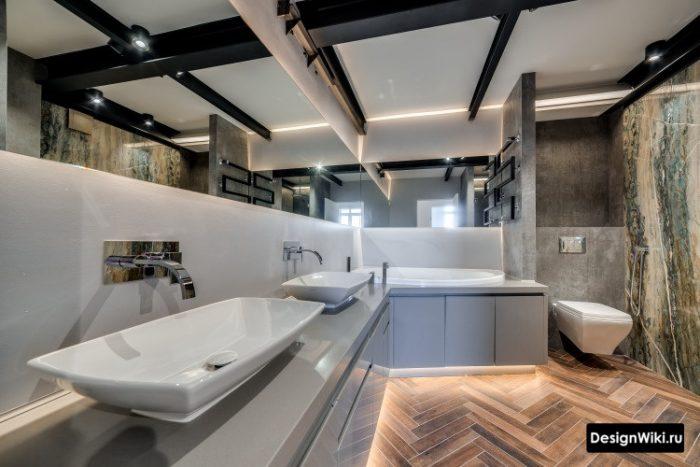 дизайн ванной с двумя умывальниками чашами