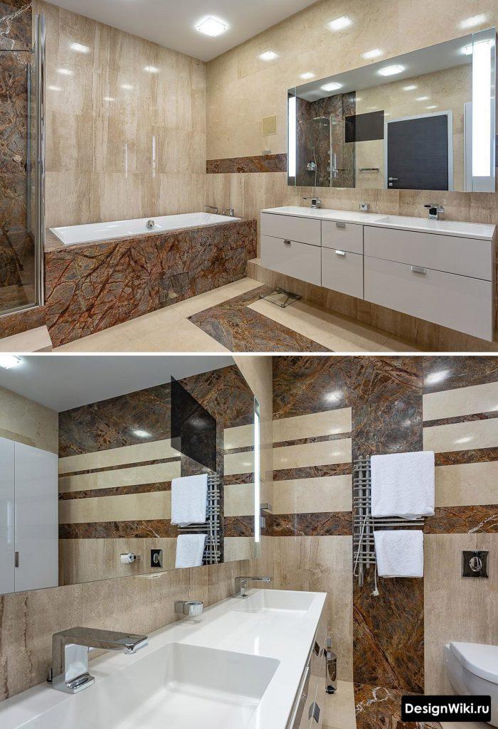 подвесная тумба в современной ванной комнате
