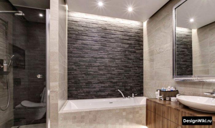 современный встроенный дизайн ванной