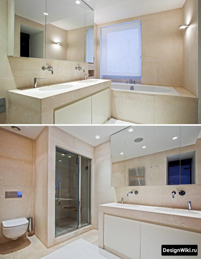 современный дизайн ванной с душем и ванной