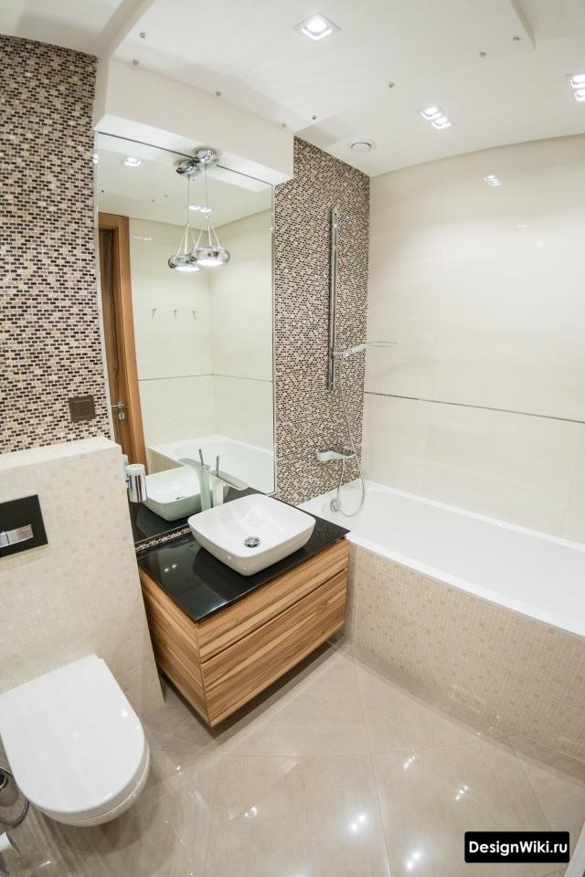 современный дизайн ванной с туалетом