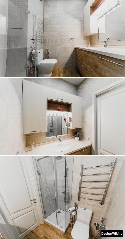 современный дизайн небольшой ванной комнаты