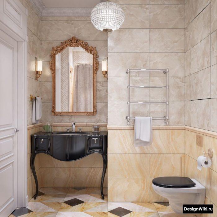 современный классический дизайн ванной комнаты